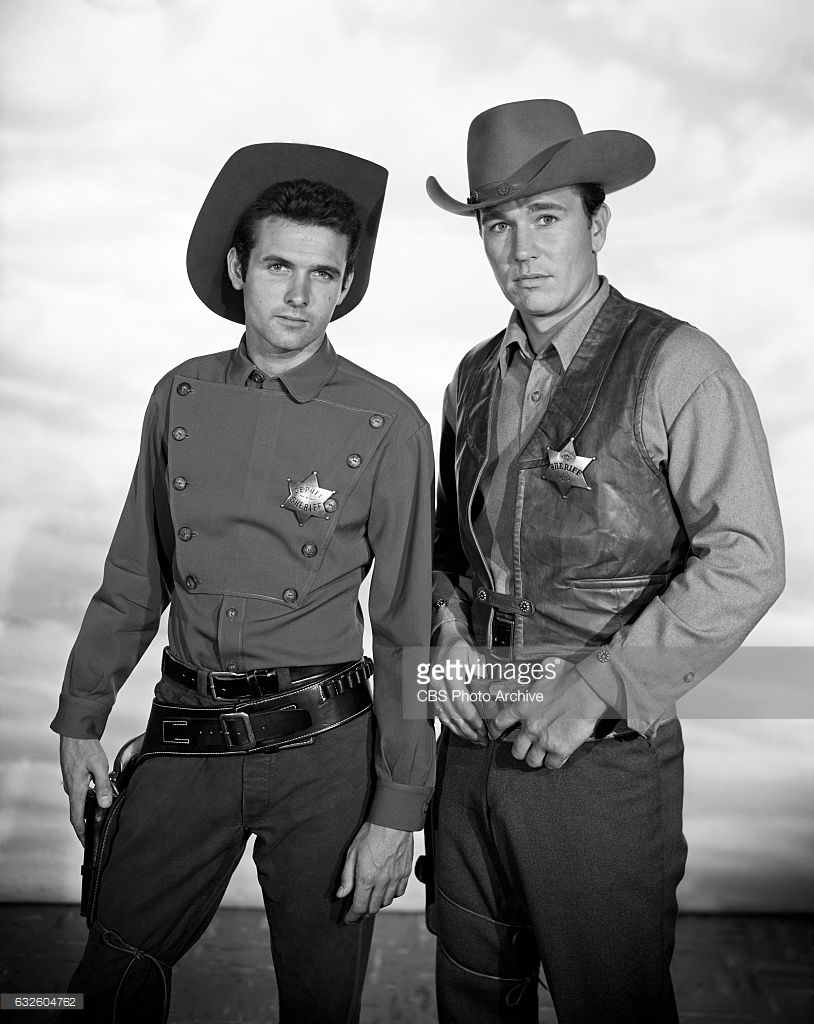 "LOS ANGELES - JULY 24: (left to Right) Mark Goddard as deputy Cully and Don Durant as Johnny Ringo star in the CBS western television program ""Johnny Ringo."" Image dated: July 24, 1959, Hollywood, CA. (Photo by CBS via Getty Images) *** Local Caption *** Don Durant;Mark Goddard"